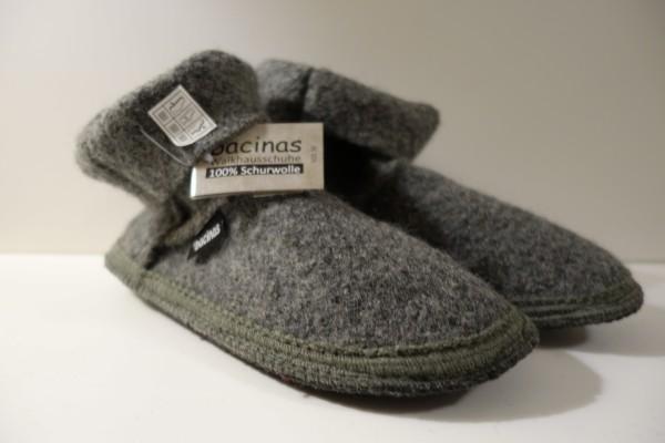 Bacinas Hausschuhe I Hüttenschuhe 100% Wolle grau 37 - 41