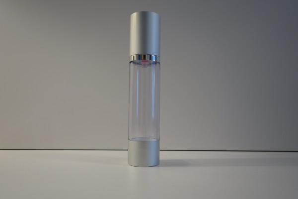 airless Pumpspender silberfarben I transparent