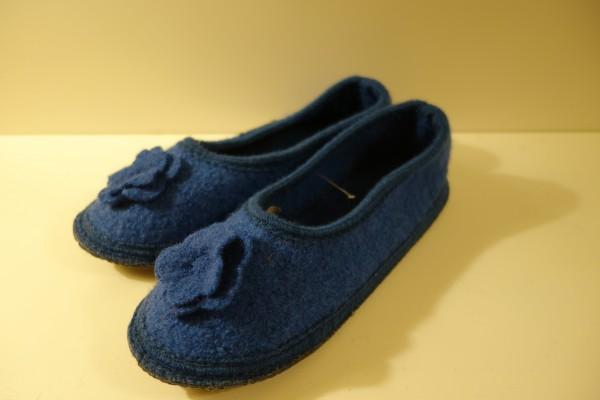 bacinas Hausschuhe - Hausballerina aus gewalkter Schafwolle blau 38 - 41
