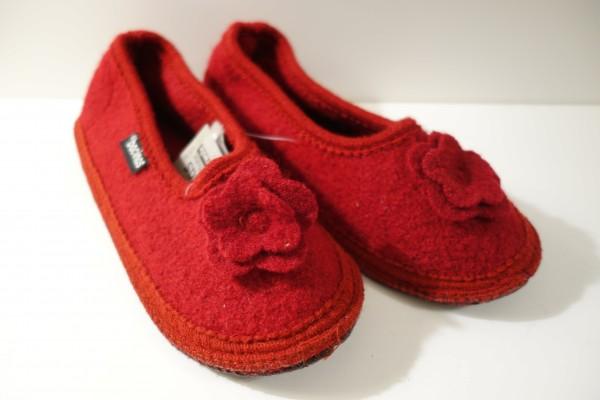 bacinas Hausschuhe - Hausballerina aus gewalkter Schafwolle rot 39 - 41