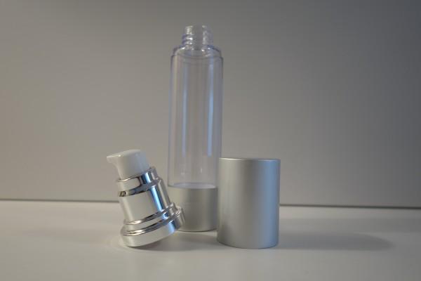 Airless Pumpspender klar silberfarben schmal