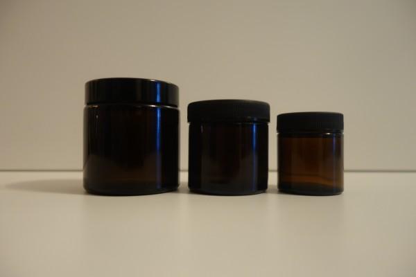 Braunglas Salbentiegel / Cremetiegel
