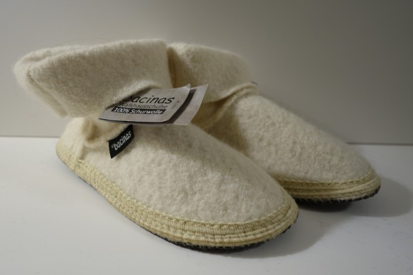Bacinas Hausschuhe I Hüttenschuhe 100% Wolle weiss 36 - 41