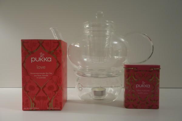 Geschenke-Set *Glas-Teekanne mit Glas-Stövchen und Bio-Tee*