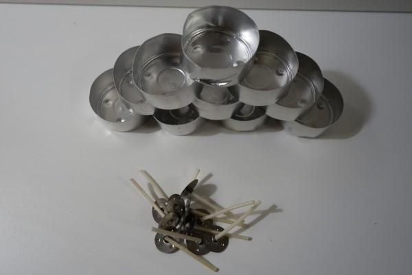 10 Teelichtdochte mit Hülle Spinnrad