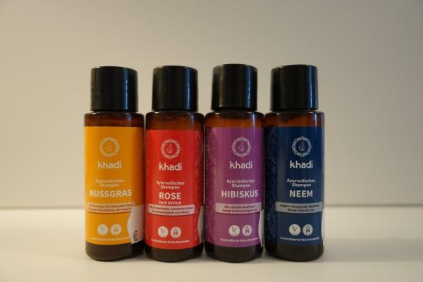 Ayurvedischen Shampoos NUSSGRAS, ROSE, HIBISKUS und NEEM 30ml